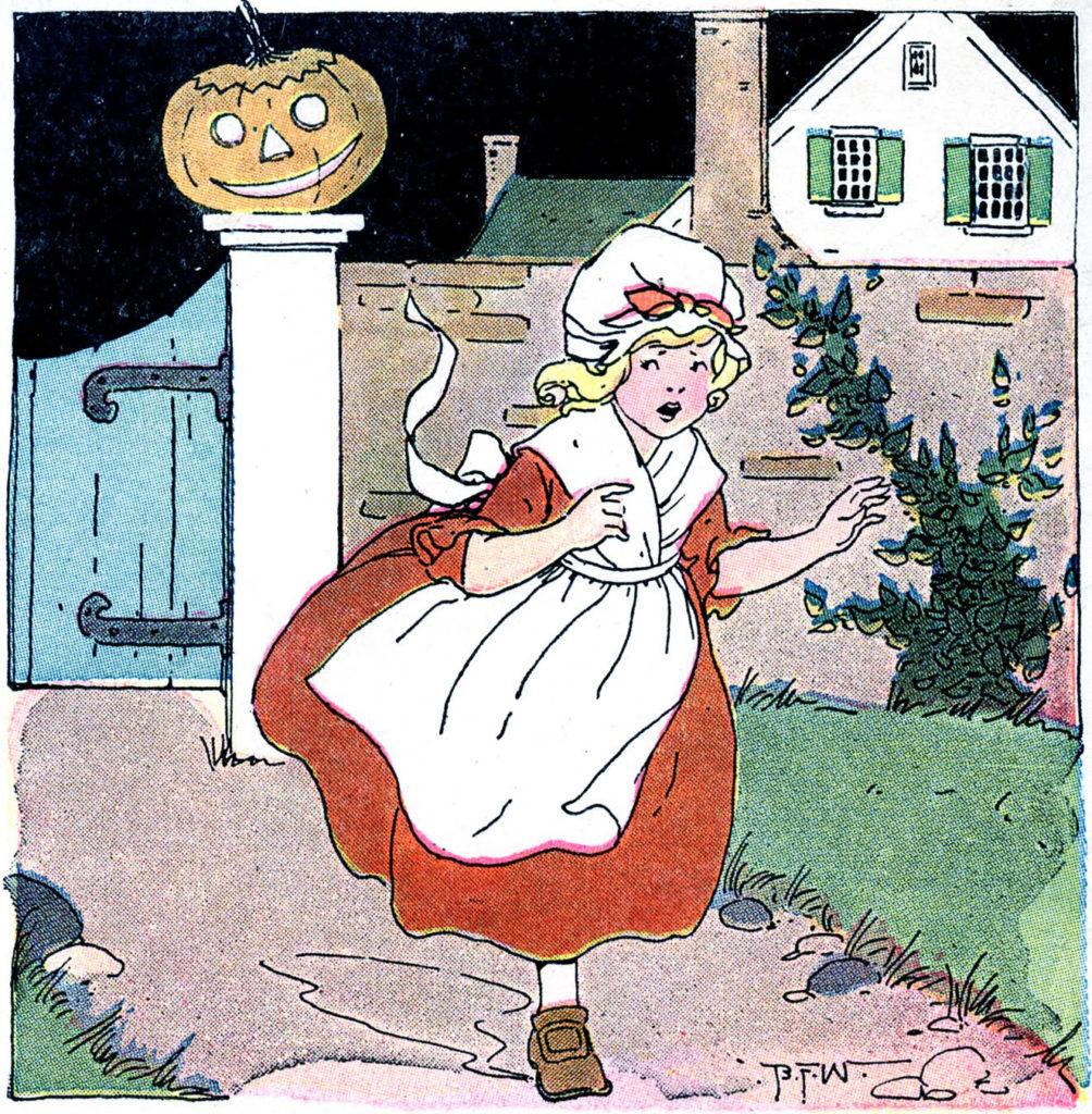 girl scared halloween running illustration