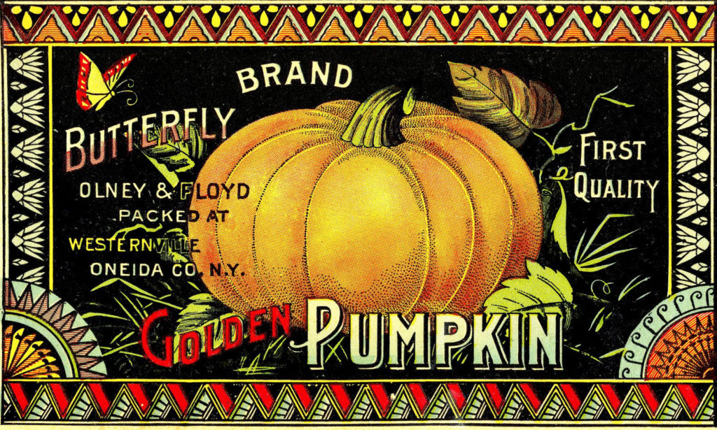 pumpkin label vintage image