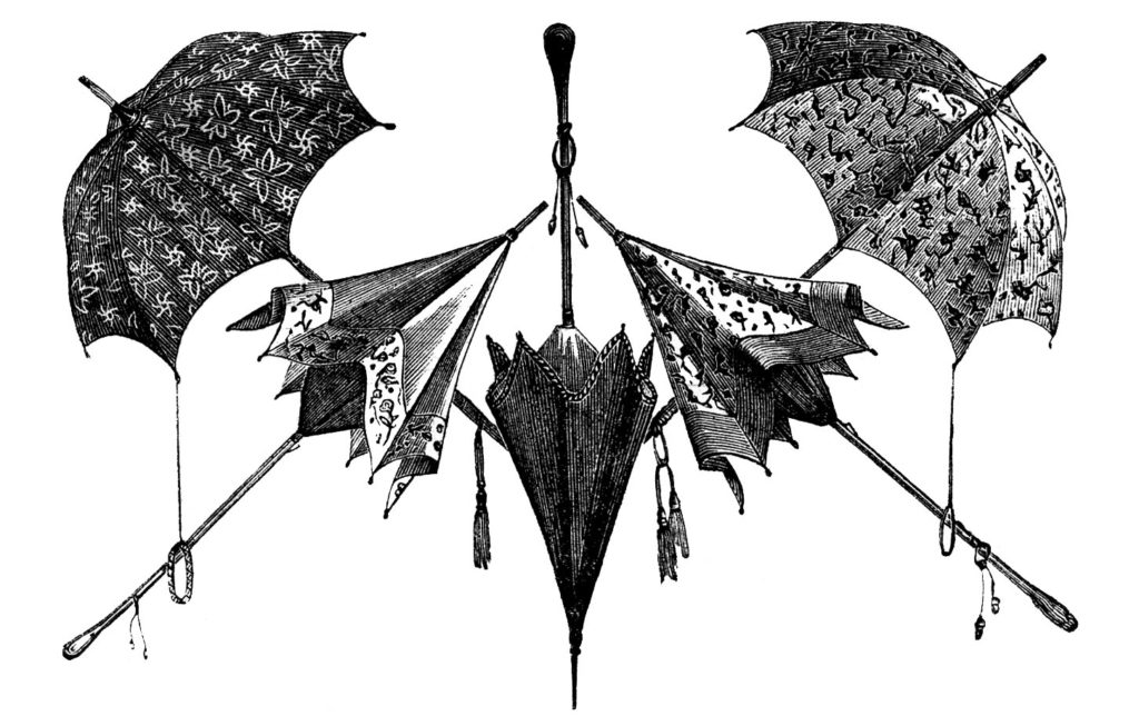 black white umbrellas clip art