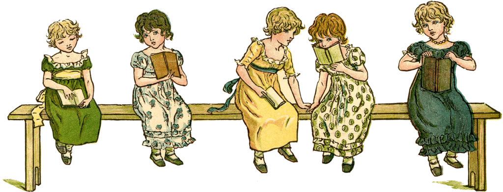 children sitting reading books illustration