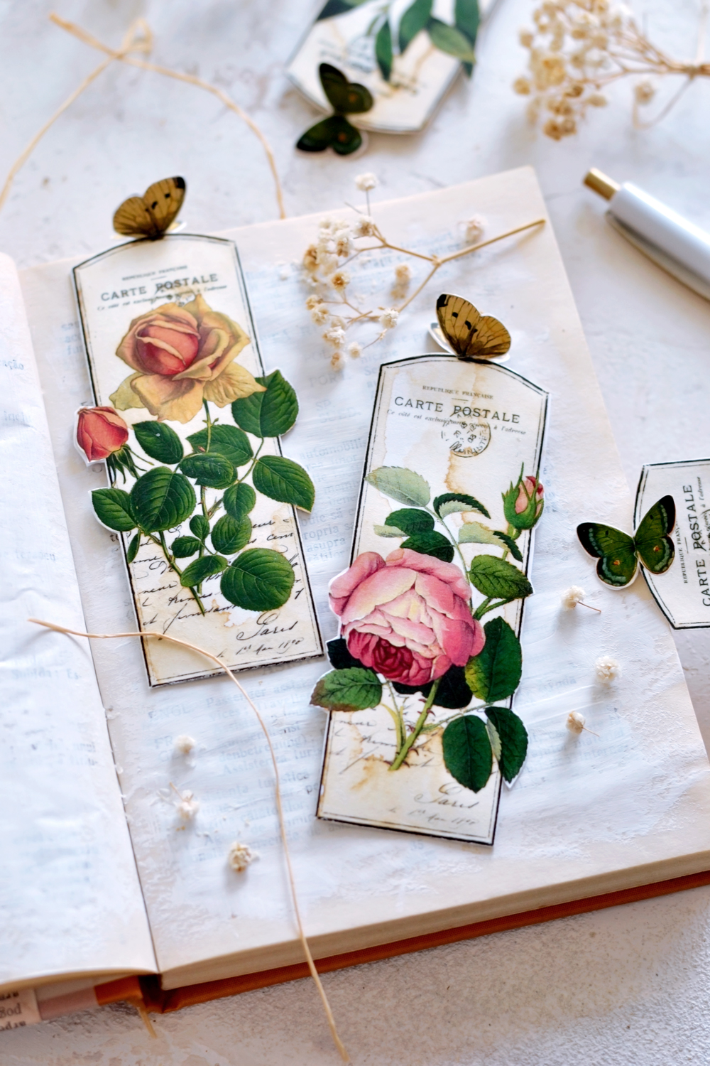 DIY 3D Vintage Butterfly Bookmarks + free printable!