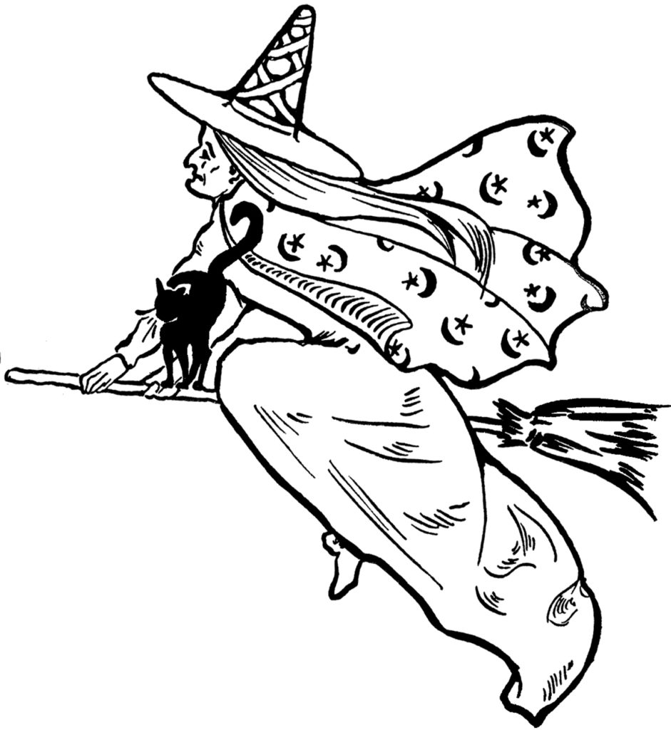 witch flying brook clipart