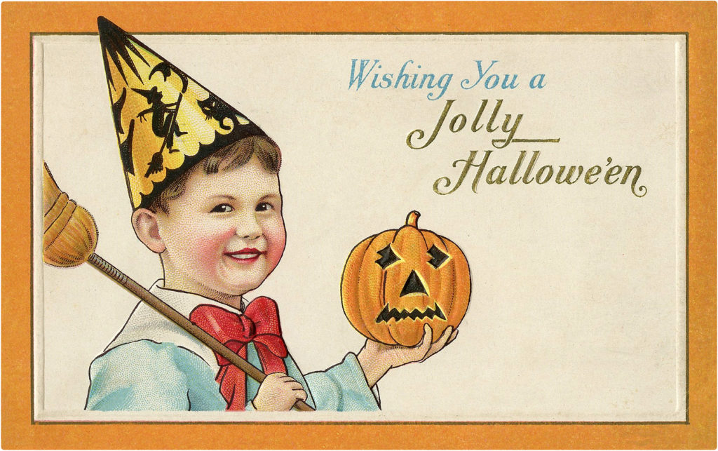 Halloween Boy with Party Hat and Pumpkin