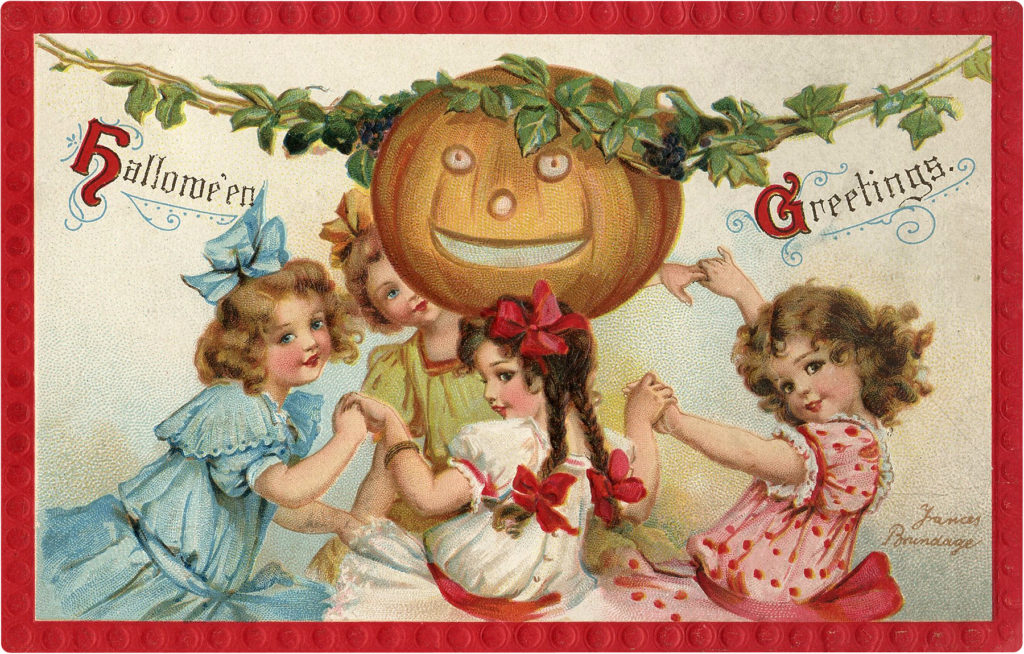 Halloween Girls Dancing with Pumpkin