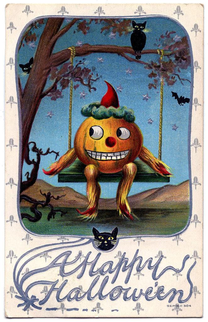 halloween pumpkin swing vintage image