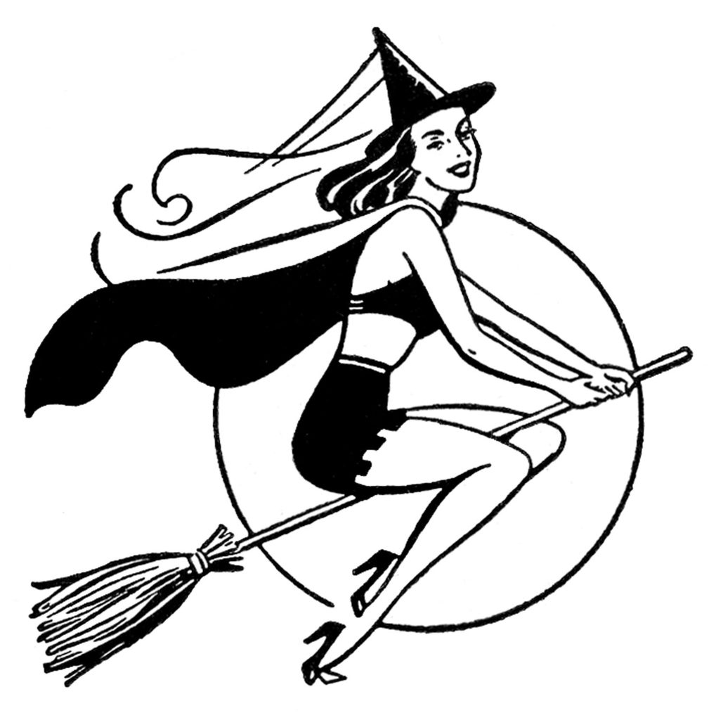 retro witch moon broomstick clipart