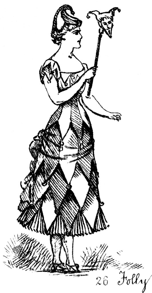 harlequin costume lady illustration