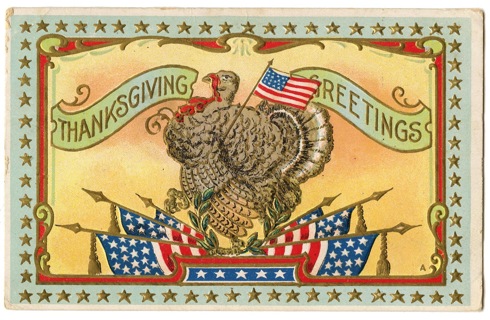Patriotic Thanksgiving Turkey with Flags Image