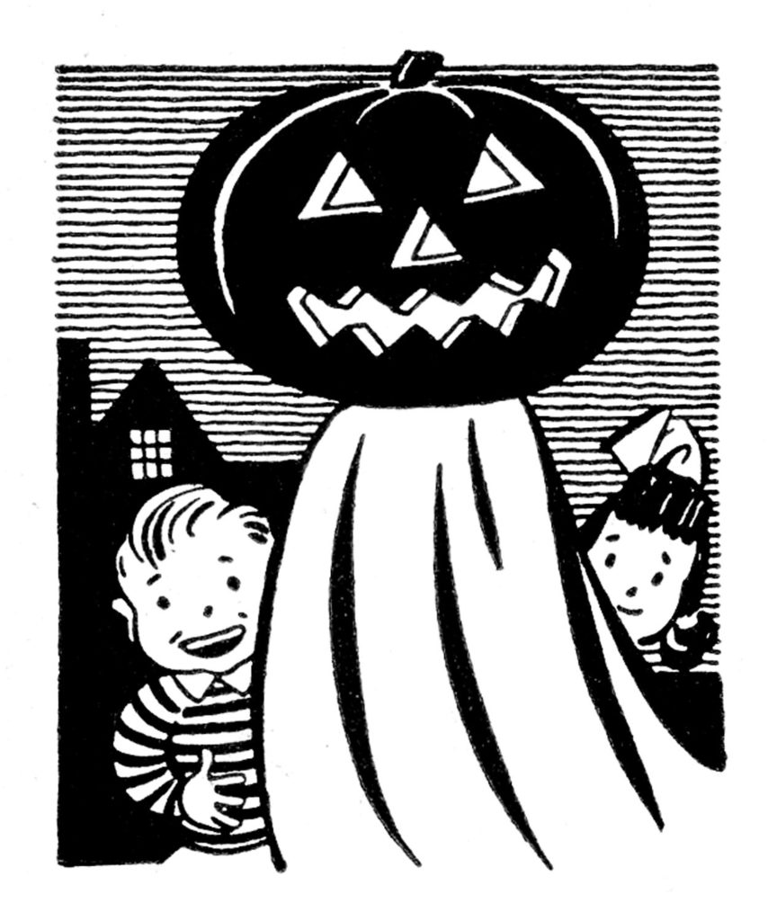 retro pumpkin head ghost kids clip art