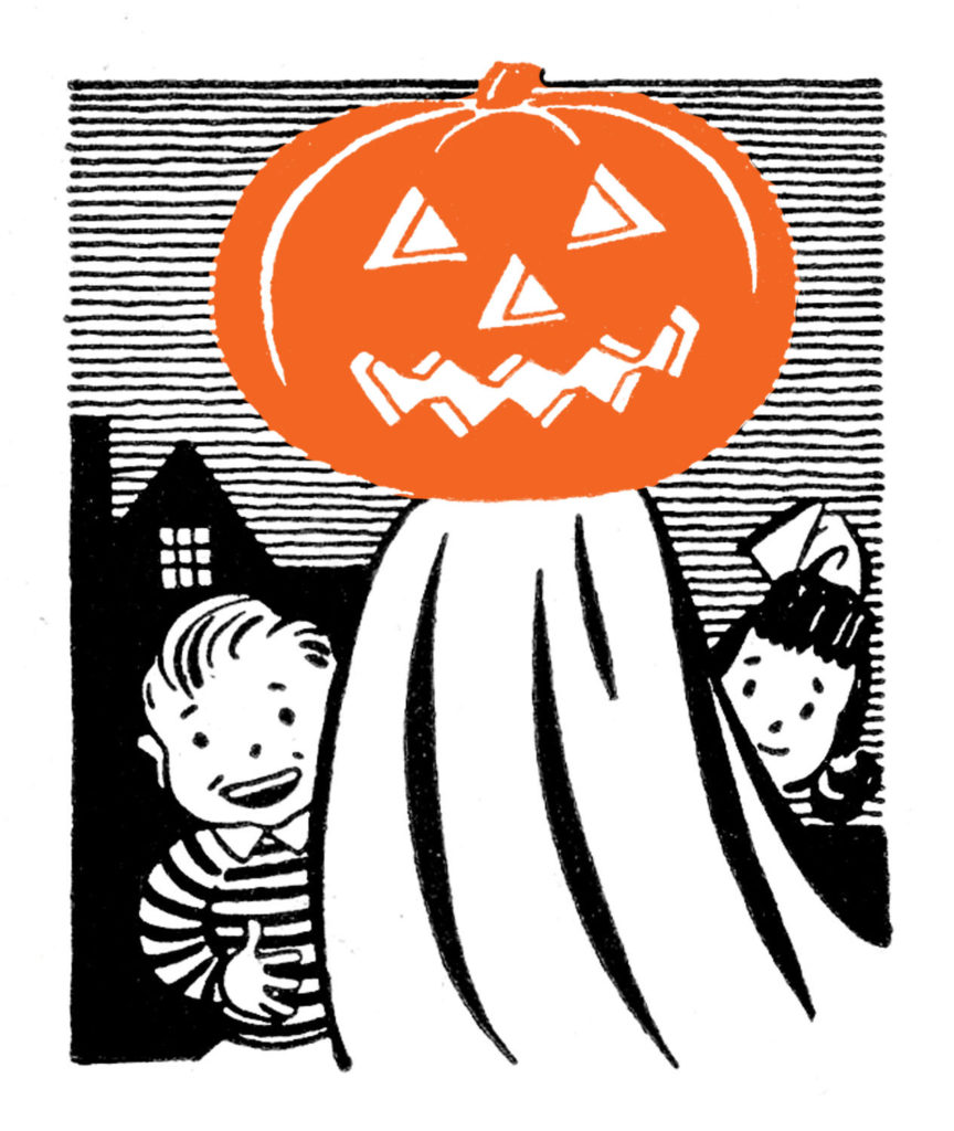 vintage orange pumpkin head ghost kids clipart
