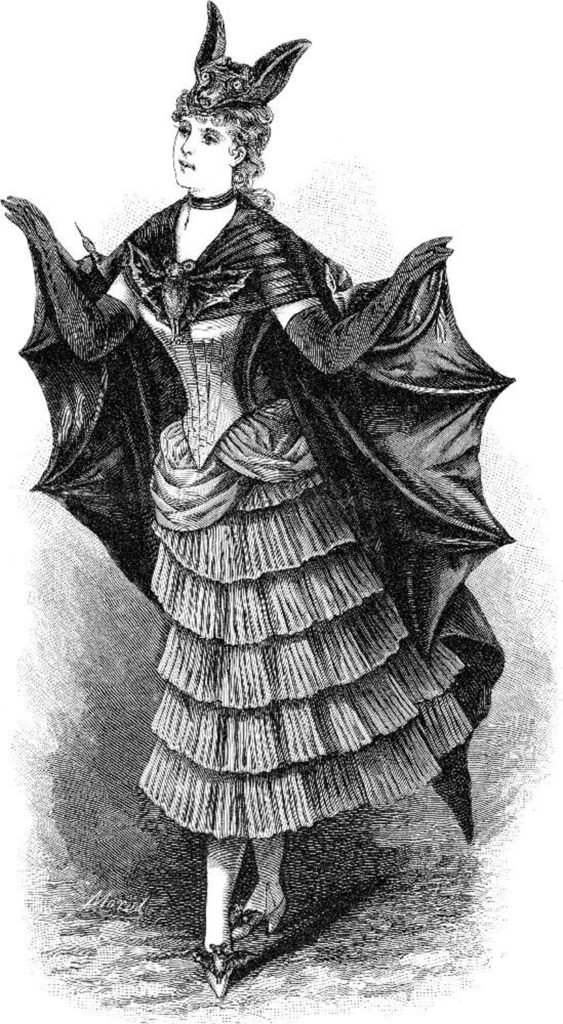 victorian bat lady costume clipart