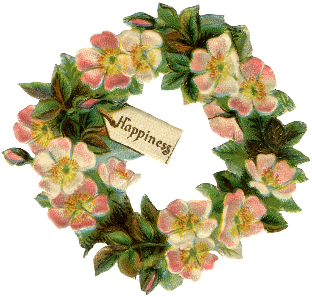 vintage floral rose wreath image