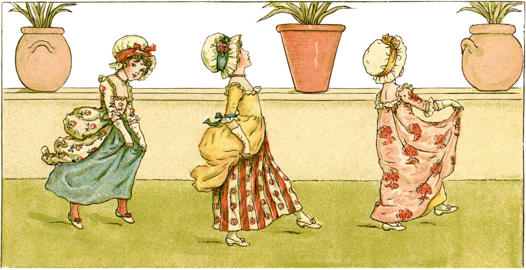 girls walking garden image