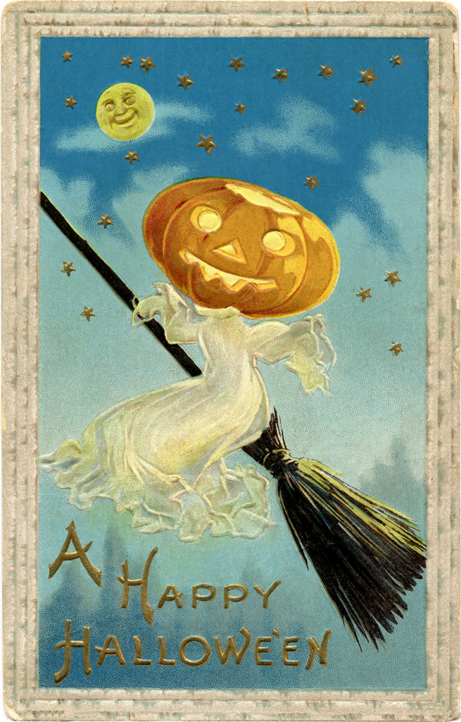 vintage pumpkin head ghost broom image
