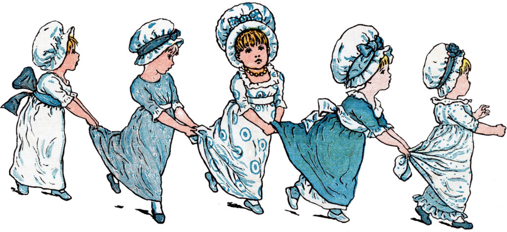 kate greenaway children playing blue dress image