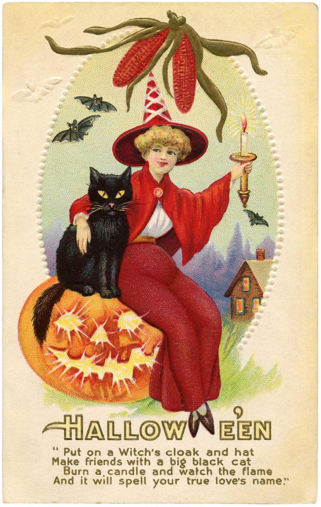 vintage red witch illustration