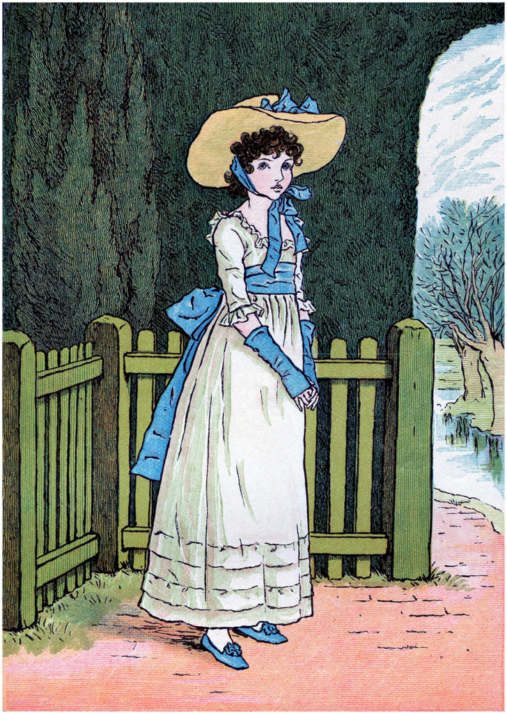 vintage regency girl kate greenaway image