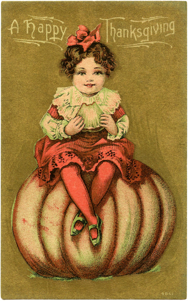 vintage thanksgiving girl pumpkin clipart