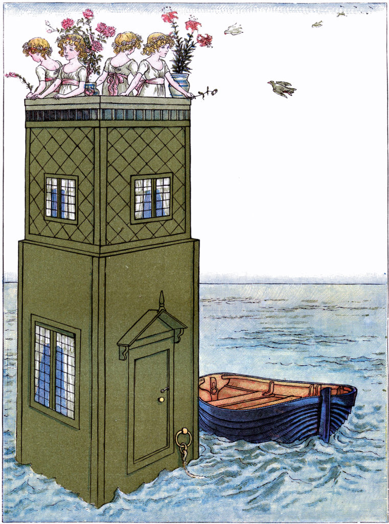 children sea boat tower illustration