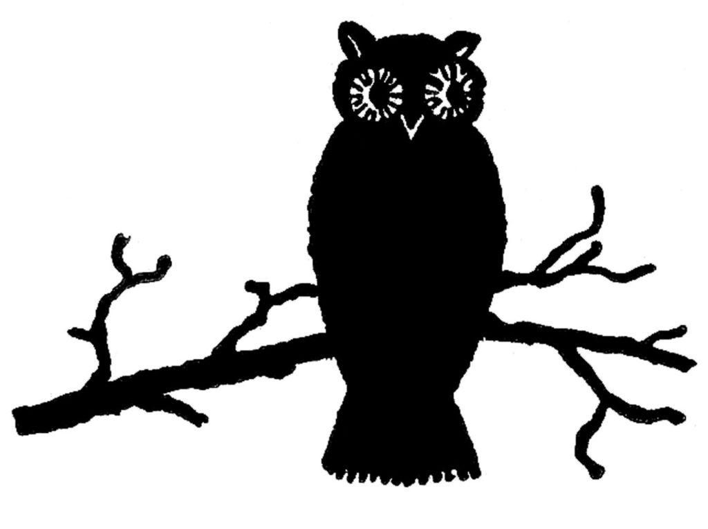 halloween owl branch silhouette clip art