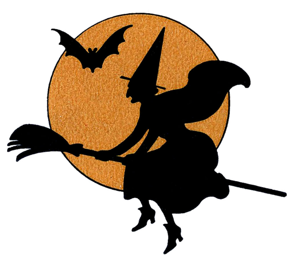 witch silhouette moon bat clip art
