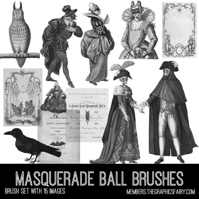Vintage Masquerade Ball ephemera brush set