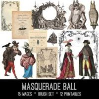 masquerade ball vintage ephemera bundle