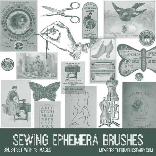 vintage sewing ephemera brush set