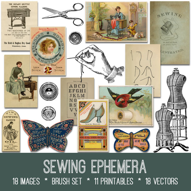 sewing ephemera vintage images