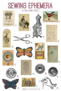vintage sewing ephemera digital image bundle