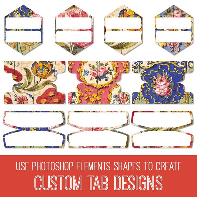 PSE Tutorial Use Photoshop Elements Shapes Create Custom Tab Designs