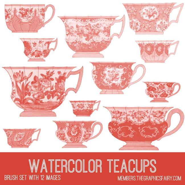 vintage watercolor teacups brush set