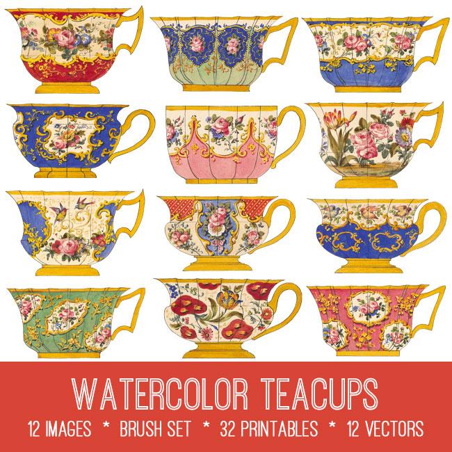 watercolor teacups vintage images