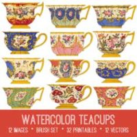 vintage watercolor teacups bundle