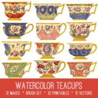 vintage watercolor teacups bundle