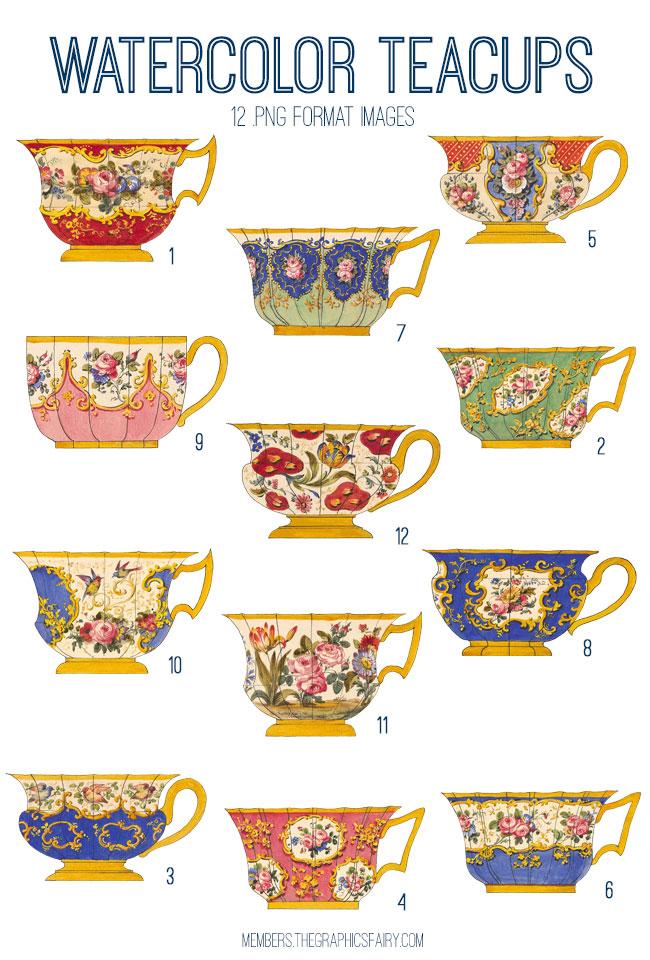 vintage watercolor teacups digital image bundle
