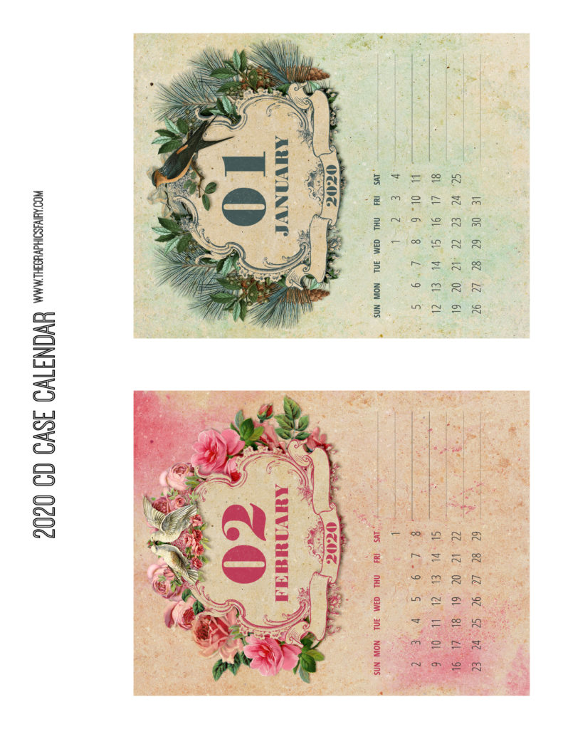 January February 2020 Calendar Graphics Fairy