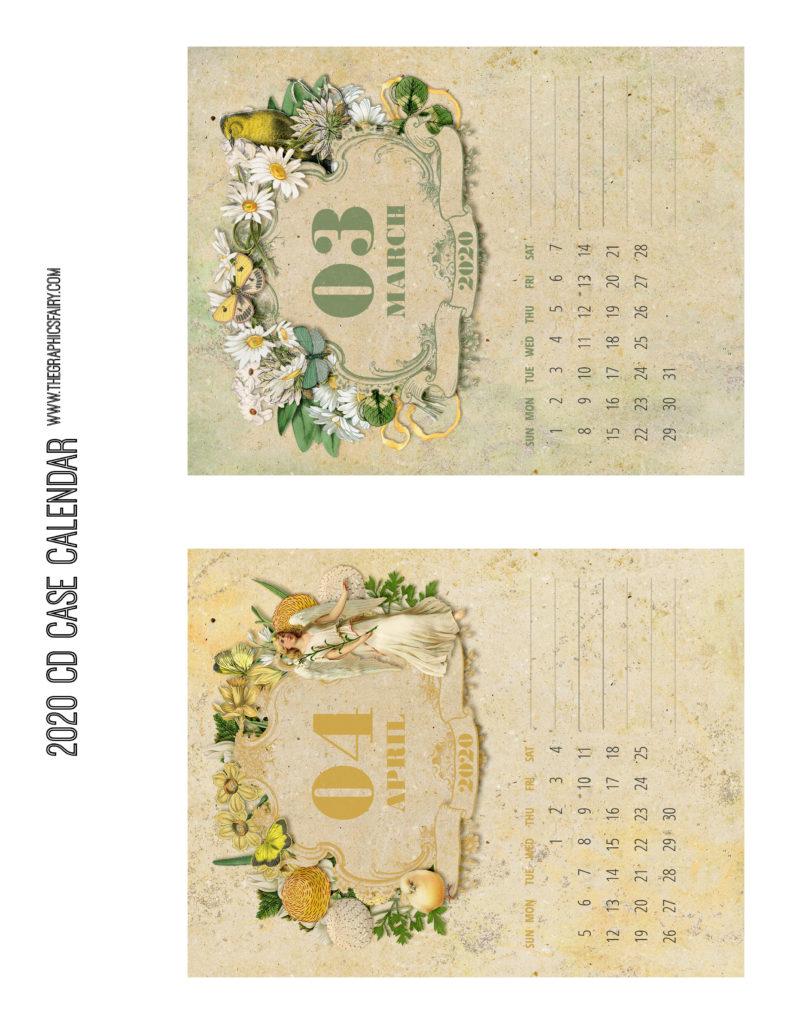 March April 2020 Calendar Graphics Fairy