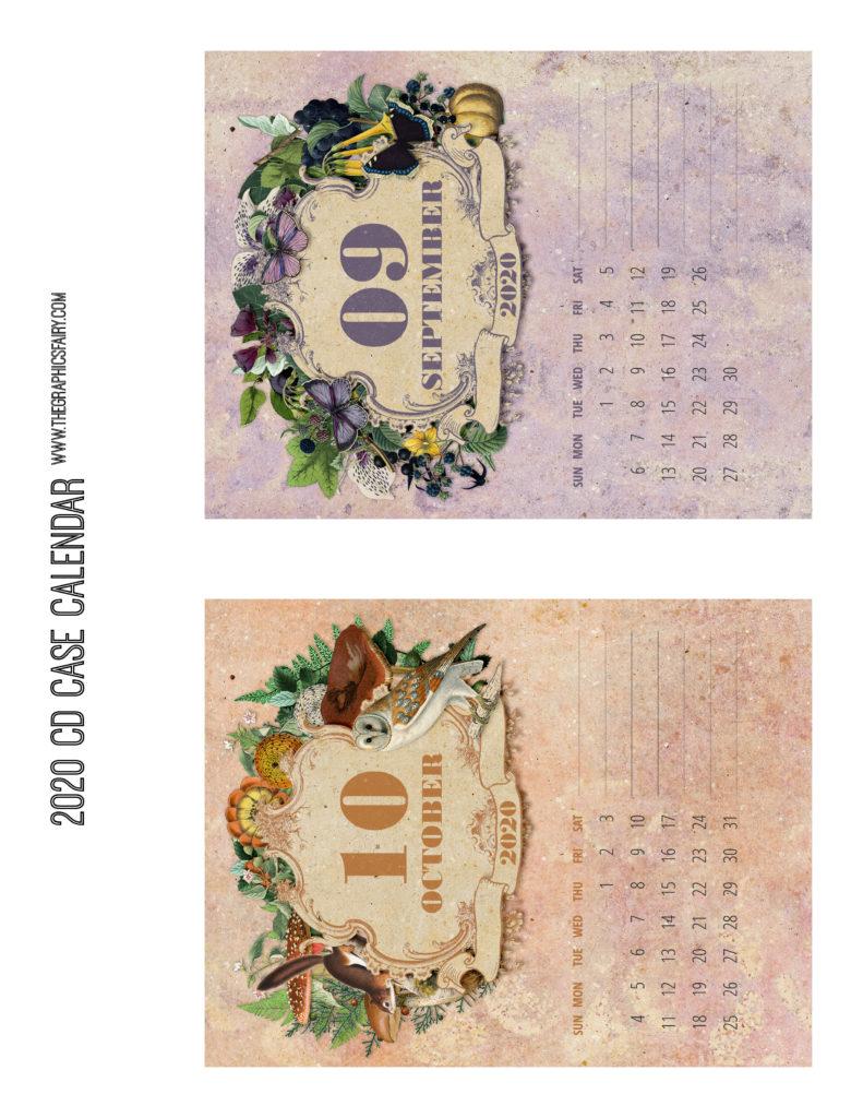 September October 2020 Calendar Graphics Fairy