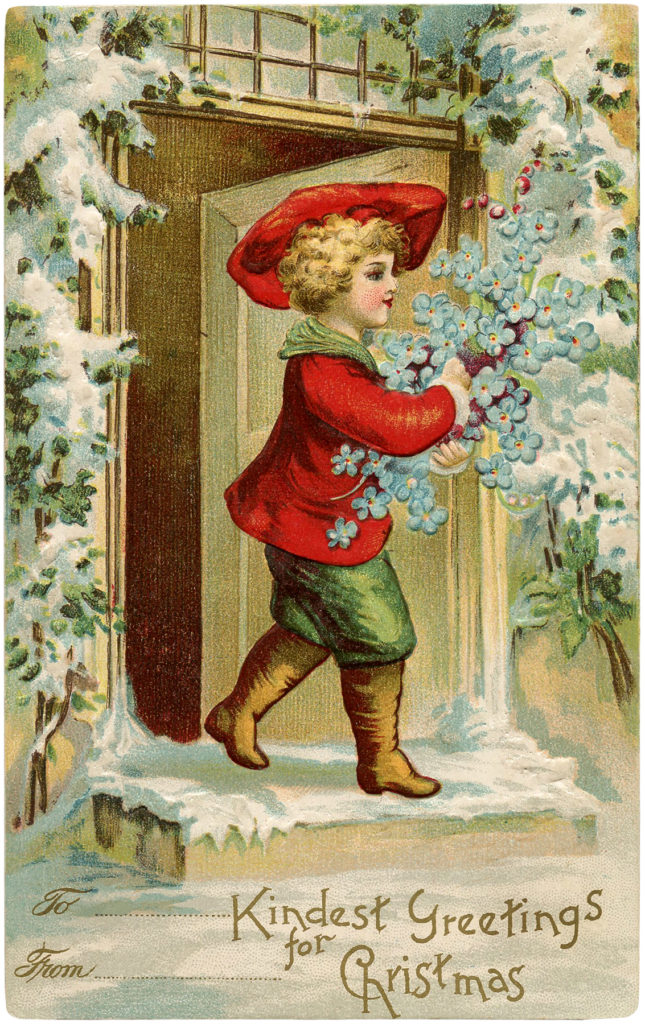 Christmas Boy Flowers Image