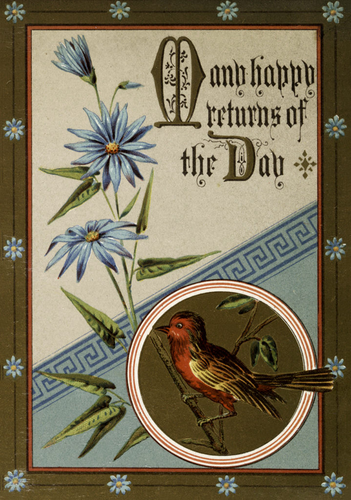Bird Flowers Birthday Image