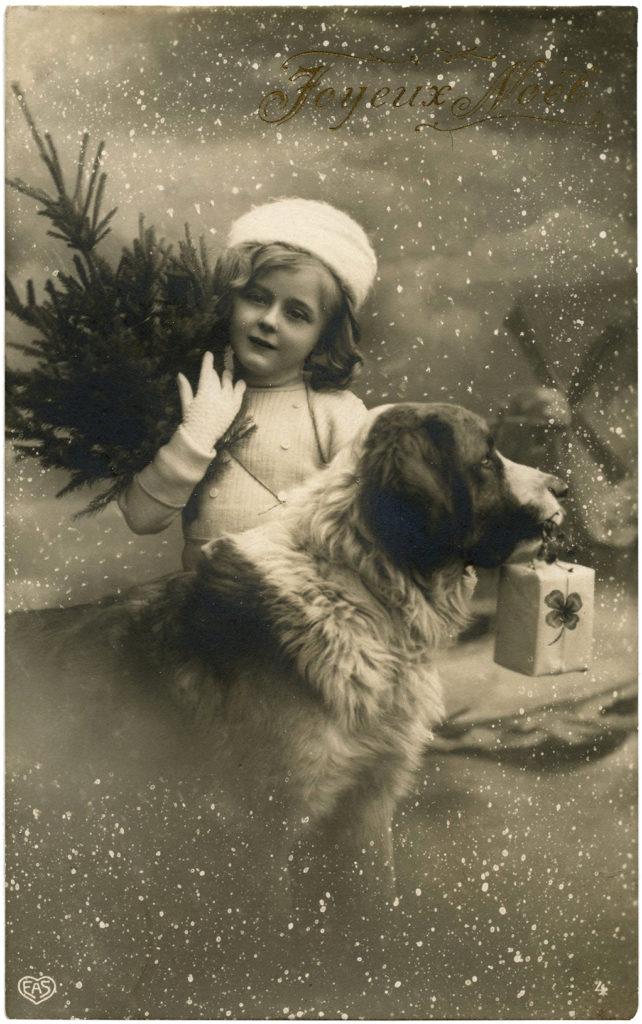 Christmas Tree Girl Black White Dog St Bernard Snow Clipart