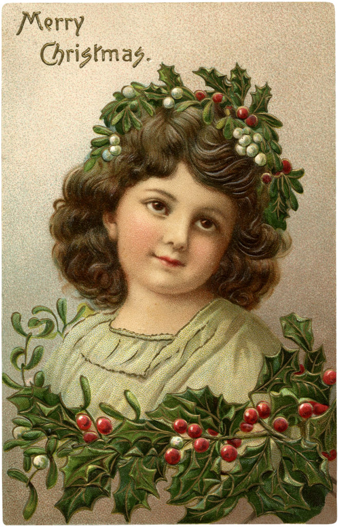 Christmas Girl Wreath Holly Image