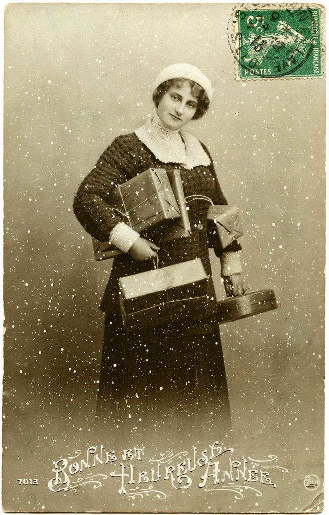 woman christmas shopping presents vintage image