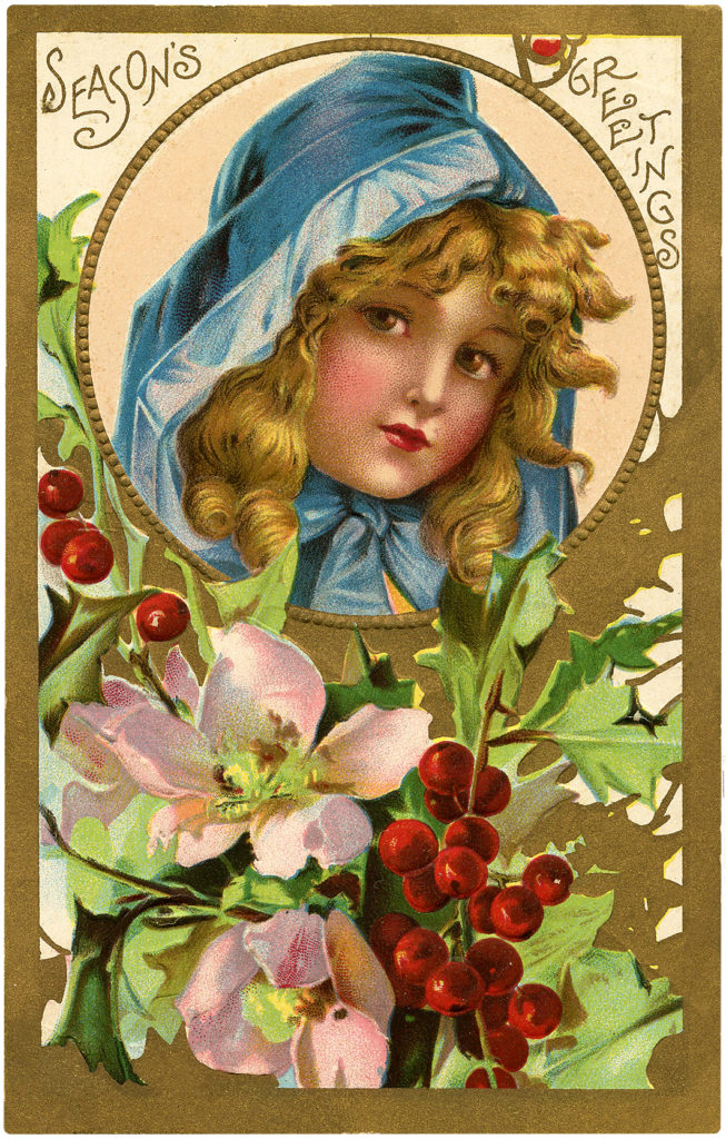 Christmas Girl Blue Hood Flowers Holly Berries Image