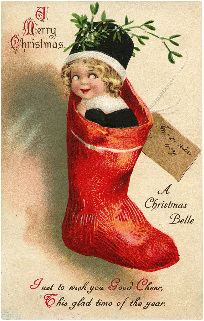 Elf Stocking Vintage Image