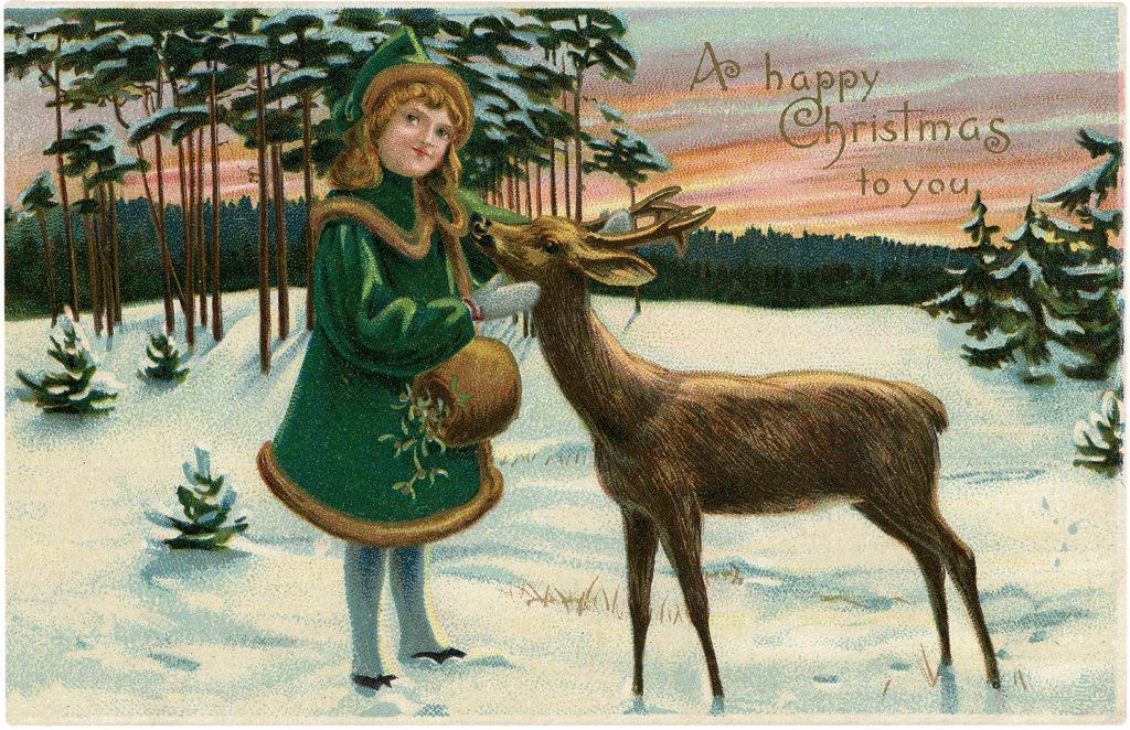 Girl Winter Snow Muff Deer Illustration