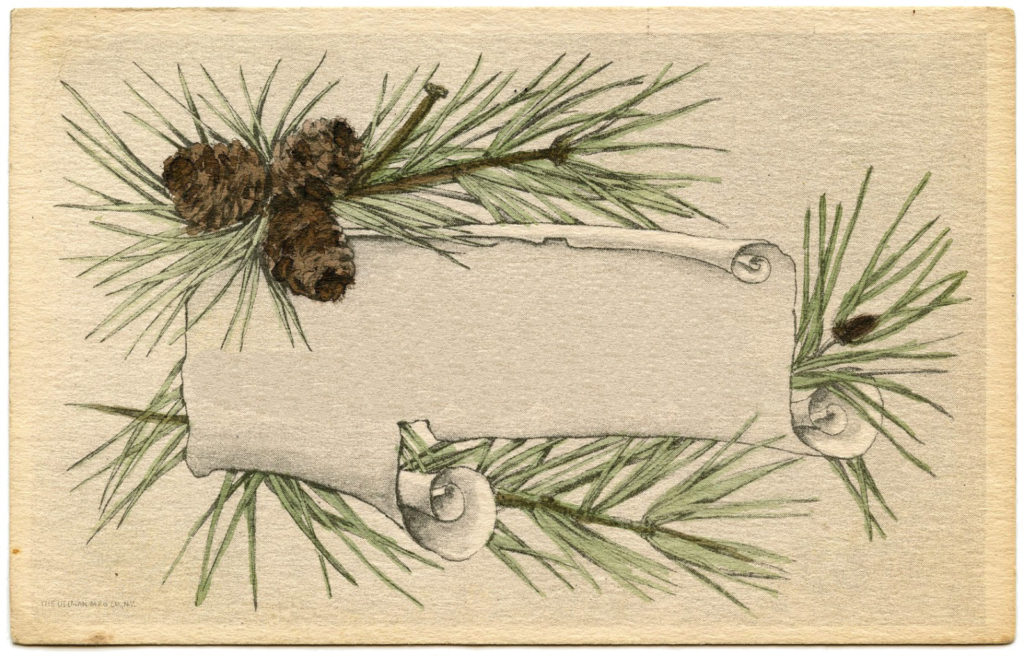 christmas pine cone label blank image