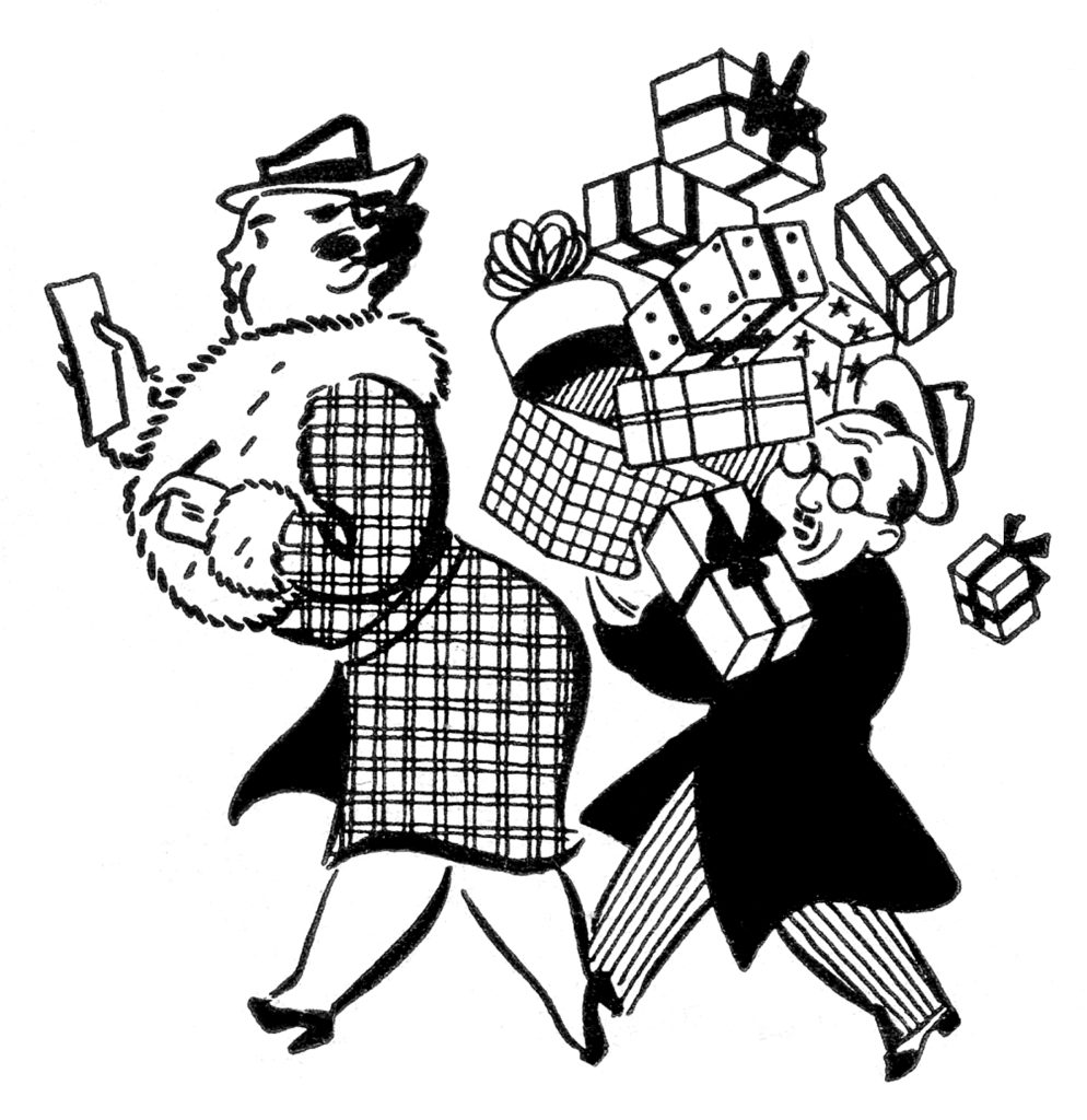 retro christmas shopping couple presents clipart