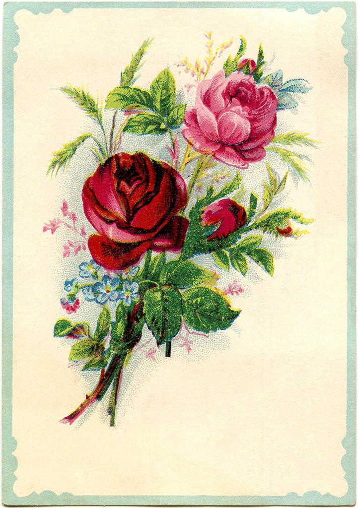 Vintage Red Pink Rose Bouquet Image